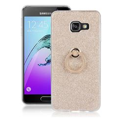 Luxury Soft TPU Glitter Back Ring Cover with 360 Rotate Finger Holder Buckle for Samsung Galaxy A3 2016 A310 - Golden