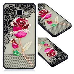 Rose Lace Diamond Flower Soft TPU Back Cover for Samsung Galaxy A3 2016 A310