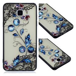 Butterfly Lace Diamond Flower Soft TPU Back Cover for Samsung Galaxy A3 2016 A310