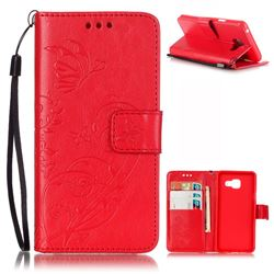 Embossing Butterfly Flower Leather Wallet Case for Samsung Galaxy A3 2016 A310 - Red