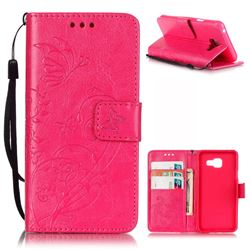 Embossing Butterfly Flower Leather Wallet Case for Samsung Galaxy A3 2016 A310 - Rose