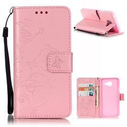 Embossing Butterfly Flower Leather Wallet Case for Samsung Galaxy A3 2016 A310 - Pink