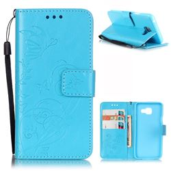 Embossing Butterfly Flower Leather Wallet Case for Samsung Galaxy A3 2016 A310 - Blue