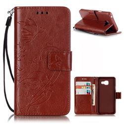 Embossing Butterfly Flower Leather Wallet Case for Samsung Galaxy A3 2016 A310 - Brown