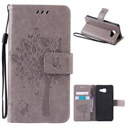 Embossing Butterfly Tree Leather Wallet Case for Samsung Galaxy A3 2016 A310 - Grey