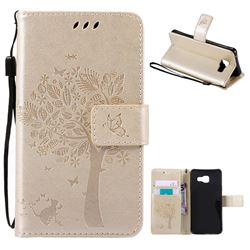 Embossing Butterfly Tree Leather Wallet Case for Samsung Galaxy A3 2016 A310 - Champagne
