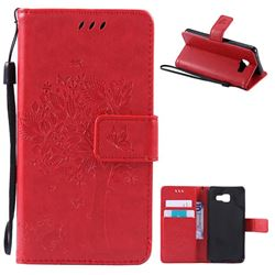 Embossing Butterfly Tree Leather Wallet Case for Samsung Galaxy A3 2016 A310 - Red