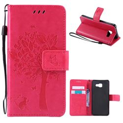 Embossing Butterfly Tree Leather Wallet Case for Samsung Galaxy A3 2016 A310 - Rose