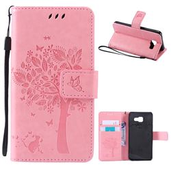 Embossing Butterfly Tree Leather Wallet Case for Samsung Galaxy A3 2016 A310 - Pink