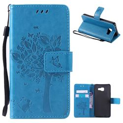Embossing Butterfly Tree Leather Wallet Case for Samsung Galaxy A3 2016 A310 - Blue