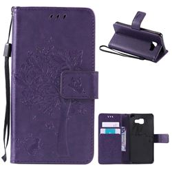 Embossing Butterfly Tree Leather Wallet Case for Samsung Galaxy A3 2016 A310 - Purple