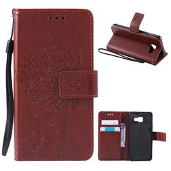Embossing Butterfly Tree Leather Wallet Case for Samsung Galaxy A3 2016 A310 - Brown