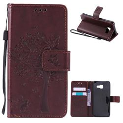 Embossing Butterfly Tree Leather Wallet Case for Samsung Galaxy A3 2016 A310 - Coffee
