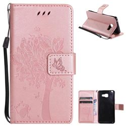 Embossing Butterfly Tree Leather Wallet Case for Samsung Galaxy A3 2016 A310 - Rose Pink