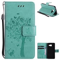 Embossing Butterfly Tree Leather Wallet Case for Samsung Galaxy A3 2016 A310 - Cyan