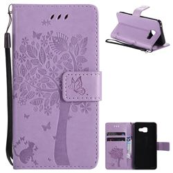 Embossing Butterfly Tree Leather Wallet Case for Samsung Galaxy A3 2016 A310 - Violet