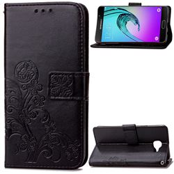 Embossing Imprint Four-Leaf Clover Leather Wallet Case for Samsung Galaxy A3 2016 A310 - Black
