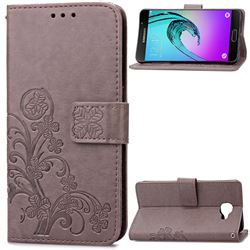 Embossing Imprint Four-Leaf Clover Leather Wallet Case for Samsung Galaxy A3 2016 A310 - Gray