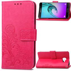Embossing Imprint Four-Leaf Clover Leather Wallet Case for Samsung Galaxy A3 2016 A310 - Rose