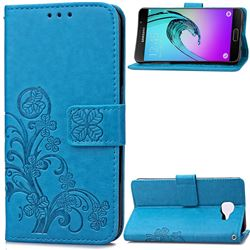 Embossing Imprint Four-Leaf Clover Leather Wallet Case for Samsung Galaxy A3 2016 A310 - Blue
