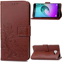 Embossing Imprint Four-Leaf Clover Leather Wallet Case for Samsung Galaxy A3 2016 A310 - Brown