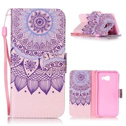 Purple Sunflower Leather Wallet Phone Case for Samsung A3 2016 A310