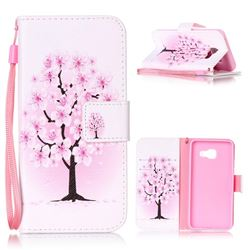 Peach Flower Leather Wallet Phone Case for Samsung A3 2016 A310