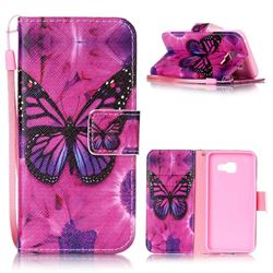 Black Butterfly Leather Wallet Phone Case for Samsung A3 2016 A310