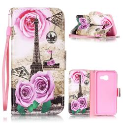 Rose Eiffel Tower Leather Wallet Phone Case for Samsung A3 2016 A310