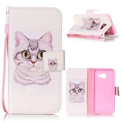 Lovely Cat Leather Wallet Phone Case for Samsung A3 2016 A310