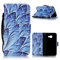 Blue Feather Leather Wallet Phone Case for Samsung A3 2016 A310