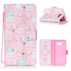 Pink Elephant Leather Wallet Phone Case for Samsung A3 2016 A310