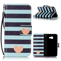 Blue Stripe Heart Leather Wallet Phone Case for Samsung A3 2016 A310