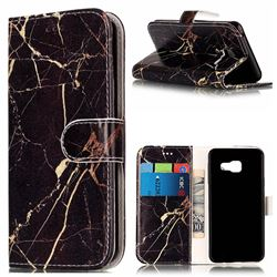 Black Gold Marble PU Leather Wallet Case for Samsung Galaxy A3 2016 A310