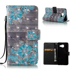 Blue Flower 3D Painted Leather Wallet Case for Samsung Galaxy A3 2016 A310