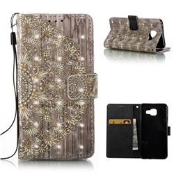 Golden Flower 3D Painted Leather Wallet Case for Samsung Galaxy A3 2016 A310