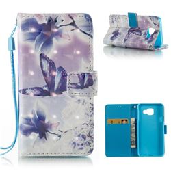 Butterfly Flower 3D Painted Leather Wallet Case for Samsung Galaxy A3 2016 A310