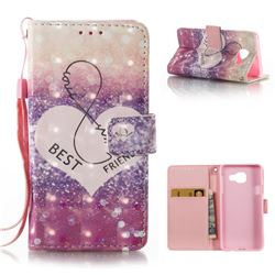 Heart Friend 3D Painted Leather Wallet Case for Samsung Galaxy A3 2016 A310