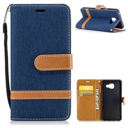 Jeans Cowboy Denim Leather Wallet Case for Samsung Galaxy A3 2016 A310 - Dark Blue