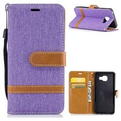 Jeans Cowboy Denim Leather Wallet Case for Samsung Galaxy A3 2016 A310 - Purple