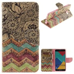 Wave Flower PU Leather Wallet Case for Samsung Galaxy A3 2016 A310