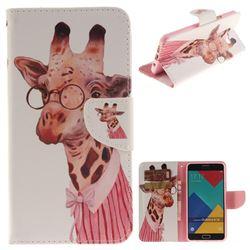 Pink Giraffe PU Leather Wallet Case for Samsung Galaxy A3 2016 A310