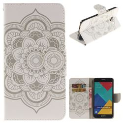 White Flowers PU Leather Wallet Case for Samsung Galaxy A3 2016 A310