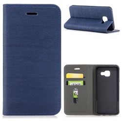 Tree Bark Pattern Automatic suction Leather Wallet Case for Samsung Galaxy A3 2016 A310 - Blue