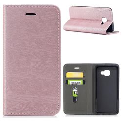 Tree Bark Pattern Automatic suction Leather Wallet Case for Samsung Galaxy A3 2016 A310 - Rose Gold