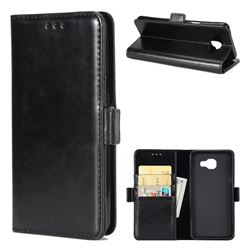 Luxury Crazy Horse PU Leather Wallet Case for Samsung Galaxy A3 2016 A310 - Black