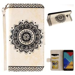 Embossed Datura Flower PU Leather Wallet Case for Samsung Galaxy A3 2016 A310 - White
