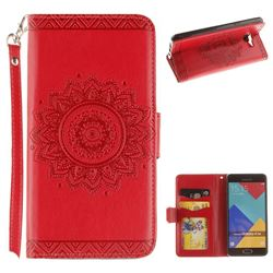 Embossed Datura Flower PU Leather Wallet Case for Samsung Galaxy A3 2016 A310 - Red