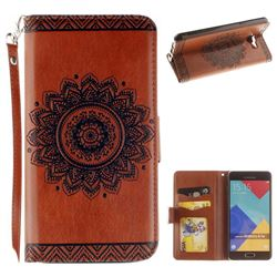 Embossed Datura Flower PU Leather Wallet Case for Samsung Galaxy A3 2016 A310 - Brown