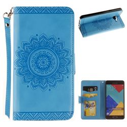 Embossed Datura Flower PU Leather Wallet Case for Samsung Galaxy A3 2016 A310 - Blue